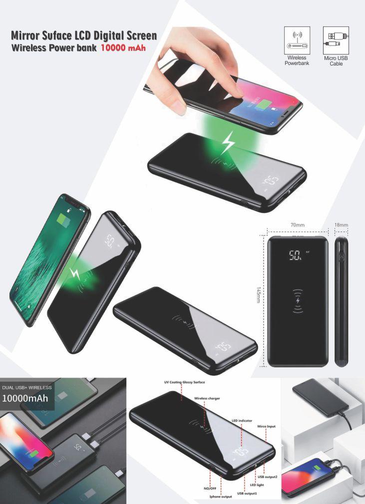 Mirror Suface LCD Digital Screen Wireless Power bank